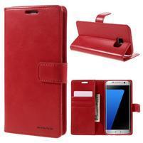 BlueMoon PU kožené puzdro na Samsung Galaxy S7 Edge - červené