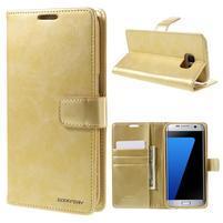 BlueMoon PU kožené puzdro na Samsung Galaxy S7 Edge - zlaté