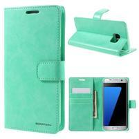 BlueMoon PU kožené pouzdro na Samsung Galaxy S7 Edge - cyan