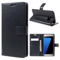 BlueMoon PU kožené puzdro na Samsung Galaxy S7 Edge - tmavomodré
