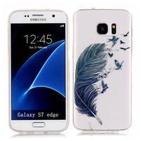 Shelly transparentní gelový obal na Samsung Galaxy S7 Edge - pírko
