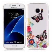Shelly transparentní gelový obal na Samsung Galaxy S7 Edge - motýlci