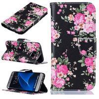 Motive PU kožené knížkové puzdro na Samsung Galaxy S7 Edge - ružové kvietky