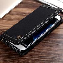 Retro Jeans textilné/PU kožené puzdro na Samsung Galaxy S7 Edge - čierne