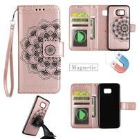 Mandala PU kožené pouzdro na Samsung Galaxy S7 Edge - růžovozlaté