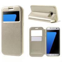 Noble Pu kožené puzdro s okienkom na Samsung Galaxy S7 Edge - champagne
