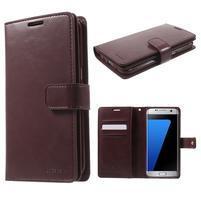 DiaryCase PU kožené pouzdro s přihrádkami na Samsung Galaxy S7 Edge - vínové