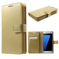 DiaryCase PU kožené pouzdro s přihrádkami na Samsung Galaxy S7 Edge - zlaté