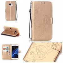 Motýlkové PU kožené pouzdro na Samsung Galaxy S7 - zlaté