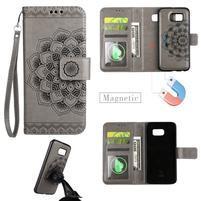 Mandala PU kožené pouzdro na Samsung Galaxy S7 - šedé