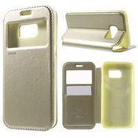 Noble Pu kožené pouzdro s okýnkem na Samsung Galaxy S7 - zlaté