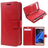 DiaryCase PU kožené pouzdro s přihrádkami na Samsung Galaxy S7 - červené