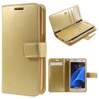 DiaryCase PU kožené pouzdro s přihrádkami na Samsung Galaxy S7 - zlaté