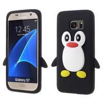 Tučňák 3D silikonový obal na Samsung Galaxy S7 - černý
