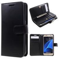 DiaryCase PU kožené pouzdro s přihrádkami na Samsung Galaxy S7 - černé