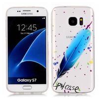 Shelly transparentní gelový obal na Samsung Galaxy S7 - modré pírko
