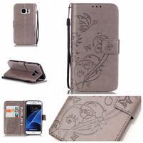 Motýlkové PU kožené pouzdro na Samsung Galaxy S7 - šedé
