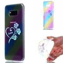Rainbow gelový obal na mobil Samsung Galaxy S8 Plus - srdce