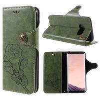 Roses PU kožené puzdro s pútkom na Samsung Galaxy S8 - zelené