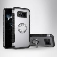 Ring odolný obal se stojánkem na Samsung Galaxy S8 - stříbrný