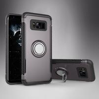Ring odolný obal se stojánkem na Samsung Galaxy S8 - šedý