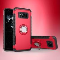 Ring odolný obal se stojánkem na Samsung Galaxy S8 - červený
