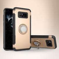 Ring odolný obal se stojánkem na Samsung Galaxy S8 - zlatý