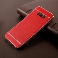 Cloth gelový obal s PU koženými zády na Samsung Galaxy S8 Plus - červený