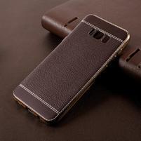 Cloth gelový obal s PU koženými zády na Samsung Galaxy S8 Plus - tmavěhnědý