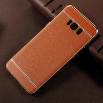 Cloth gelový obal s PU koženými zády na Samsung Galaxy S8 Plus - hnědooranžový