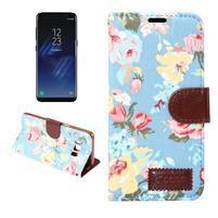 Flowers knížkové pouzdro na Samsung Galaxy S8 Plus - světlemodré