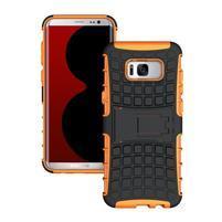 Outdoor odolný obal se stojánkem na Samsung Galaxy S8 Plus - oranžový