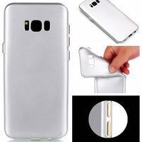 Rubber pogumovaný gelový obal na Samsung Galaxy S8 Plus - stříbrný