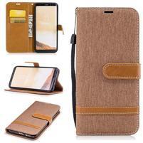 Jeany textilní/PU kožené pouzdro na Samsung Galaxy S8 Plus - khaki