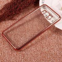 Rámovaný gelový obal na Samsung Galaxy S8 Plus - růžovozlatý