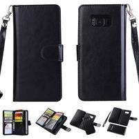 Rozkládací 2v1 PU kožené pouzdro na Samsung Galaxy S8 Plus - černé