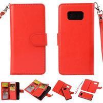 Rozkládací 2v1 PU kožené pouzdro na Samsung Galaxy S8 Plus - červené