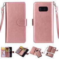 Rozkládací 2v1 PU kožené pouzdro na Samsung Galaxy S8 Plus - růžovozlaté