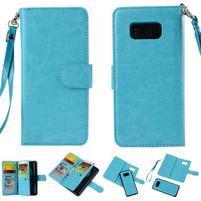Rozkládací 2v1 PU kožené pouzdro na Samsung Galaxy S8 Plus - modré