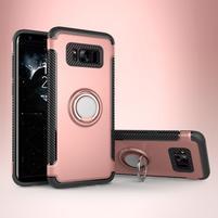 Ring odolný obal se stojánkem na Samsung Galaxy S8 Plus - růžovozlatý
