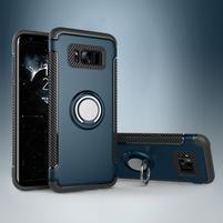 Ring odolný obal se stojánkem na Samsung Galaxy S8 Plus - tmavěmodrý
