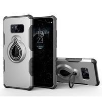 Dropy odolný obal se stojánkem na Samsung Galaxy S8 Plus - stříbrný