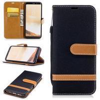 Jeany textilní/PU kožené pouzdro na Samsung Galaxy S8 Plus - černé