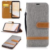 Jeany textilní/PU kožené pouzdro na Samsung Galaxy S8 Plus - šedé