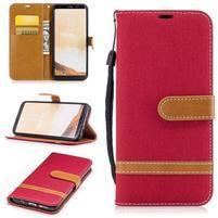 Jeany textilní/PU kožené pouzdro na Samsung Galaxy S8 Plus - červené