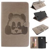 Panda polohovatelné PU kožené pouzdro na Samsung Galaxy Tab A 10.1 (2016) - šedé