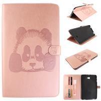 Panda polohovatelné PU kožené pouzdro na Samsung Galaxy Tab A 10.1 (2016) - růžové