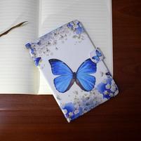 Emotive PU kožené pouzdro na Samsung Galaxy Tab A 10.1 (2016) - modrý motýl