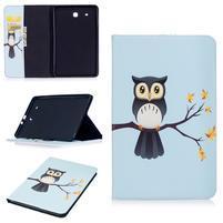 Elegant PU kožené polohovatelné pouzdro na Samsung Galaxy Tab E 9.6 - sova na větvi