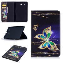 Elegant PU kožené polohovatelné pouzdro na Samsung Galaxy Tab E 9.6 - kouzelní motýlci